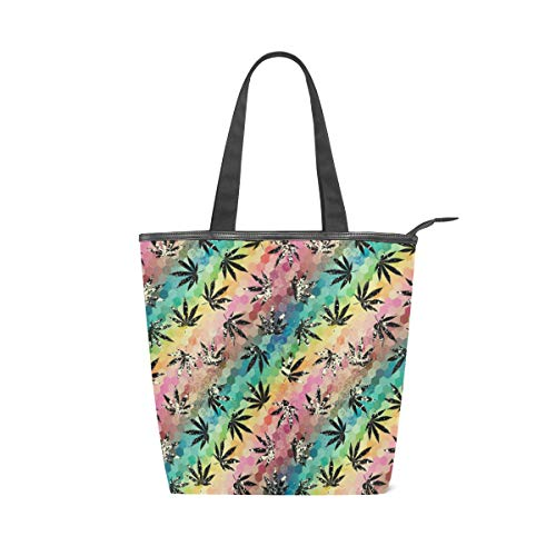 Colorful Hemp Leaves Pattern Canvas Tote Handle Bag Tote bags Shopping Bag Large Travel Bag With Zipper Shoulder Strap Reusable For Shopping and Decorating