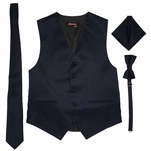 Spencer J's Men's Formal Tuxedo Suit Vest Tie Bowtie and Pocket Square 4 Piece Set Variety of Colors (L (Coat Size 42-45), Navy)