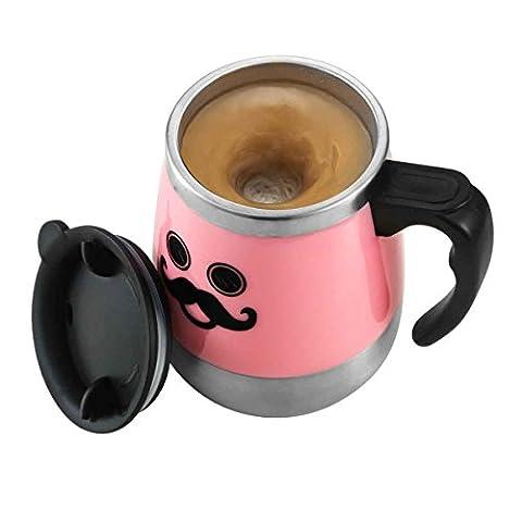 LEADNOVO Self Stirring Stainless Steel Mug 450ml/15.2oz Pink - Moo Mixer