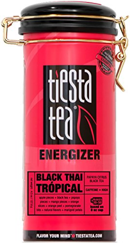 Tea | BLACK THAI TRÓPICAL 4.5 Ounce Tin by TIESTA TEA | High Caffeine | Loose Leaf Black Tea Energizer Blend ()