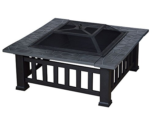 TMS 32″ Outdoor Metal Firepit Backyard Patio Garden Square Stove Fire Pit W/Cover Review