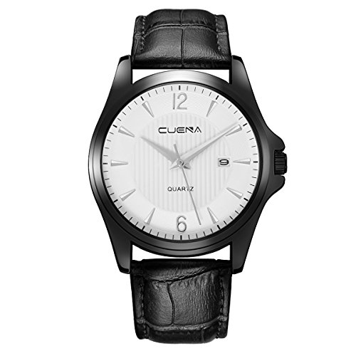 CUENA Mens Quartz Wrist Watch,Business Casual Analog Watch with Calendar Date Window, Water Resistant Comfortable PU Leather Watches by by CUENA