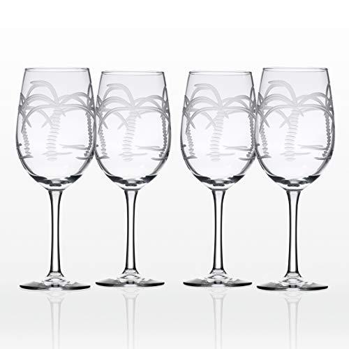Rolf Glass Palm Tree White Wine Glass (Set of 4), 12 oz, ()