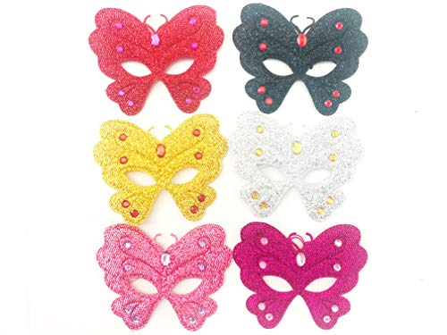 Butterfly Cat Masks Kitten Masks Halloween Kitty Party Kids Costumes Cosplay Photo Prop Dress Up Pack of 6 pcs. (Butterfly) Red