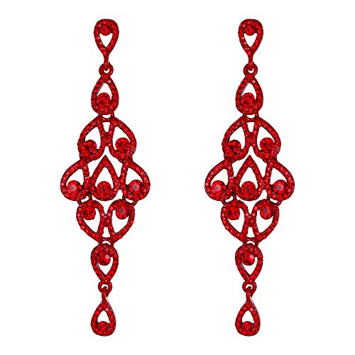 EVER FAITH Austrian Crystal Bohemia Chandelier Teardrop Dangle Earrings Ruby Color Red-Tone