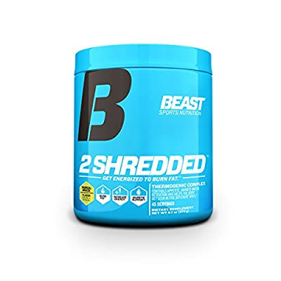 Beast Sports Nutrition 2 Shredded: Thermogenic Powder, Metabolism Booster, and Appetite Suppressant   Best Fat Burner Drink for Weight Loss and Reduced Water Retention, Tropical Breeze, 45 Servings