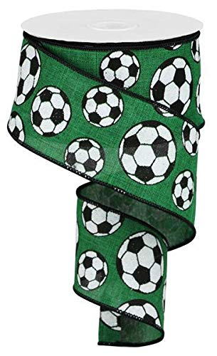 Soccer Ribbon - EXPRESSIONS Glitter Soccer Wired Ribbon Emerald Green Black and White 2.5