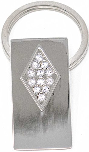 Silver Rectangle Keychain with Swarovski Rhinestone Crystals