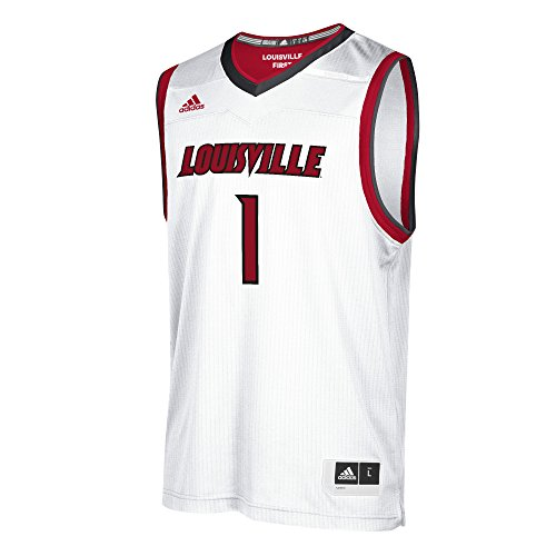 NCAA Louisville Cardinals Mens Replica Basketball Jerseyreplica Basketball Jersey, White, Small by adidas
