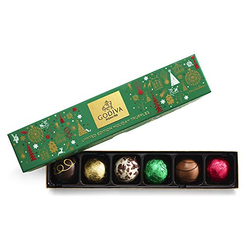 Godiva Chocolatier Assorted Chocolate Truffles Gift Box, Holiday Collection, 6-Pieces, 4.1 Ounce