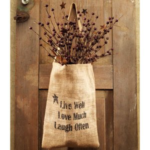 Live Well Bag (Vintage Hanging Burlap Bag - Live Well Love Much Laugh Often (8-in x)
