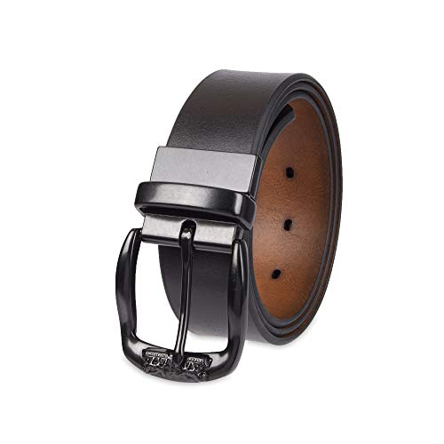 Levi's Men's Leather Reversible Belt with Logo on Buckle-Black/Tan, Xlarge (Leather Logo Buckle Belt)