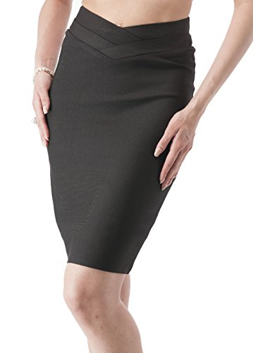 Bandage style crossed waist long pencil skirt (Small, Black)