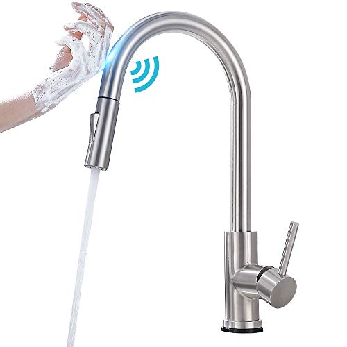 Qomolangma Touch Sensor Brush Nickel Kitchen Faucets With Pull Down