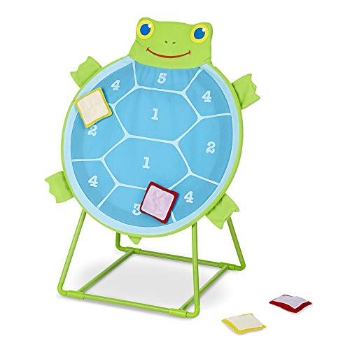 Melissa & Doug Sunny Patch Dilly Dally Tootle Turtle Target Game (Active Play & Outdoor, Two Color Self-Sticking Bean Bags, 22