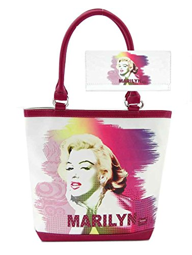 Marilyn Monroe Purse Wallet Set, White Tote Style
