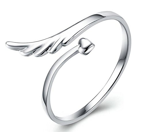 Creativelife Womens S925 Sterling Silver Angel Wings Heart Women Open Ring,Adjustable