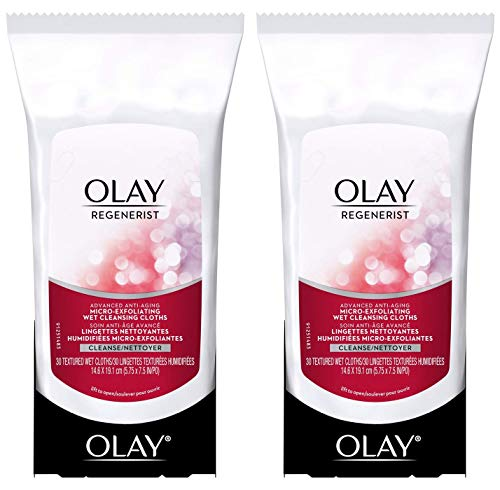 Olay Regenerist Micro-Exfoliating Wet Cleansing Cloths 30 Count (Pack of 2) ()