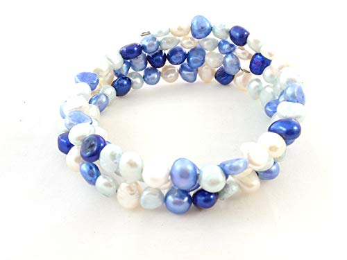 Blue Freshwater Pearl - The Island Pearl Mixed Color Blue and White Freshwater Pearl Bracelet