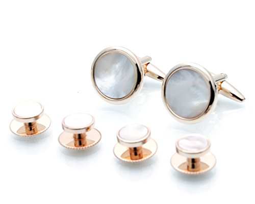 Rose White Cufflinks (Rose Gold White Mother of Pearl Cufflinks and Dress Studs Sets Tuxedo MOP Cuff Links & Stud Set)