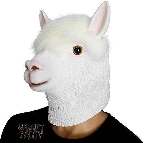CreepyParty Fiesta de Disfraces de Halloween Mascara de Latex Cabeza de Animal Alpaca