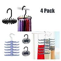 H2solution Tie Rack Holder, Belt Racks with Non-Slip Clips and 360 Degree Swivel Tie Hanger Rack, Space Saving Organizer 4 Pack