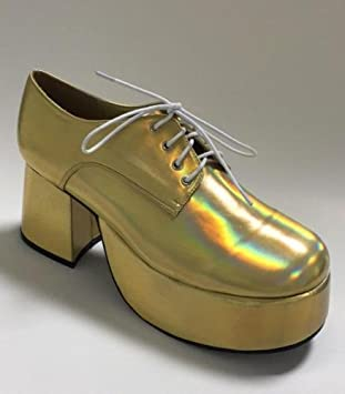 d190f6b632a5 Fancy Dress Mens 70s 80s Party Platform White Silver Gold Shoes   Amazon.co.uk  Toys   Games