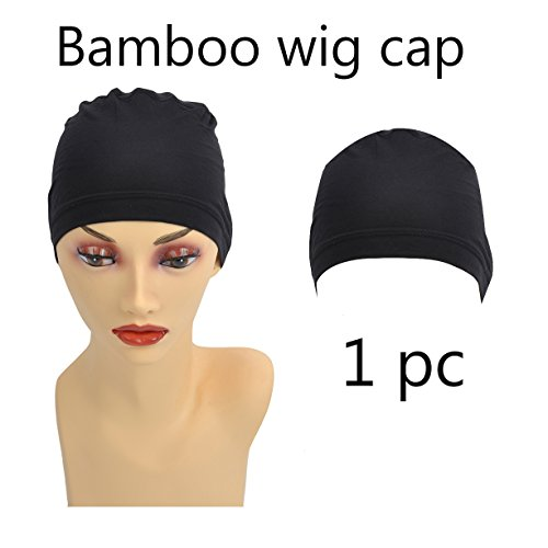 Wig Cap Construction (Bamboo Black Fiber/Sterilization/Sweat Proof/Wig Hair Stock Liner Cap Stretch Mesh Net 1PC for Women with Cancer, Chemo, Hair Loss)