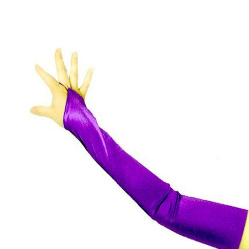 SACAS Long Fingerless Satin Gloves in Purple One Size