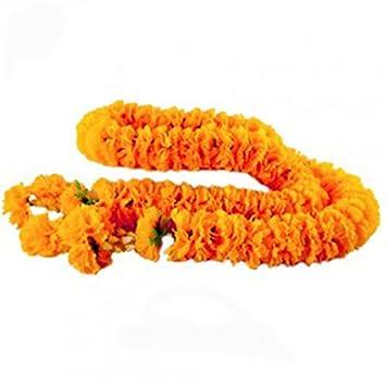 Muay Thai Fighter Ceremonial Flower,Thai Artificial Yellow Marigold Garland, Marigold flowers, Flowers Artificial, Flowers Fake (1 meter) GoodGoodsBangkok
