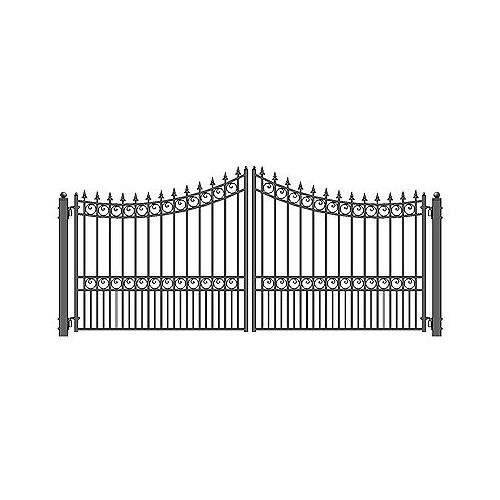 ALEKO DG16MOSD Moscow Style Dual Swing Galvanized Steel Driveway Security Gate 16 x 6 Feet Black ()