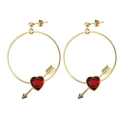 18K Gold Plated Circular ring Created Ruby Pearl Cupid Arrow Heart Women Dangle Drop Earrings (Red)