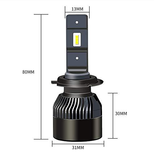 H4 J/&J 72W LED V3 Faro automobile Kit 12000LM 6000K Bianco Lampade Lampadine anabbaglianti o abbaglianti modello H1 H7 H4 H11 alta qualit/à anello adattatore estraibile per una facile installazione