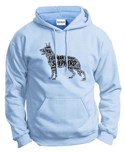 Dog Clothes German Shepherd Word Art Dog Puppy Owner Gift Hoodie Sweatshirt Small LtBlu