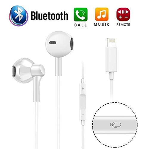 ECZO Bluetooth Headset Earbuds & Headphones with Stereo Sound + Built-in Microphone + Volume Control Compatible with iPhone X Xr Xs Max 7 8 Plus (White)