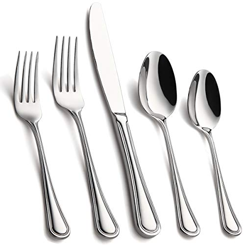 Silverware Set 20-Piece, Stainless Steel Heavy Hammered Flatware Utensils Set Service for 4, Modern Design & Classic Look Cutlery Set, Dishwasher Safe