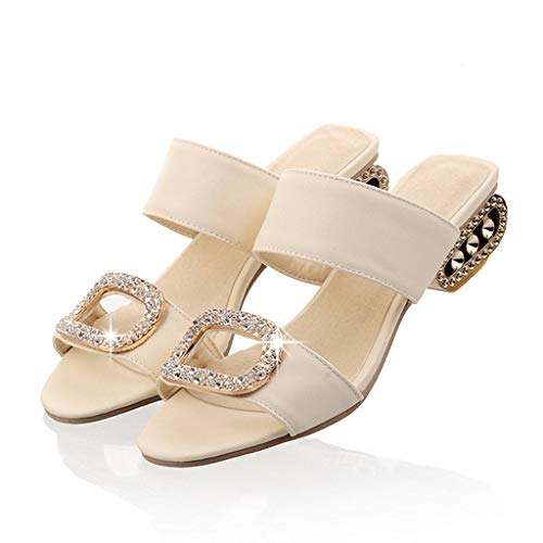 Aunimeifly Women's Low Heel Slippers Ladies Elegant Water Crystal Peep Toe Slides Sandals Shoes Beige (Heel 3' Tan Sexy)