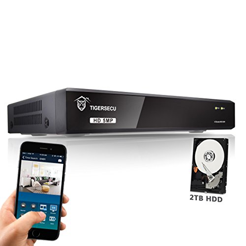 TIGERSECU 5MP Super HD 4-Channel Hybrid 4-in-1 DVR NVR Security Video Recorder with 2TB Hard Drive, Supports Analog and IP Cameras (Cameras Not Included)