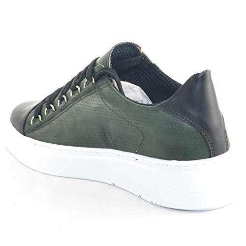 Made Sneakers Verde Doppio Strisce di Italy Giovanile Nappa Army in Uomo Pelle Bassa Pelle Vera Fondo Moda Riporto OrBR1wnqO