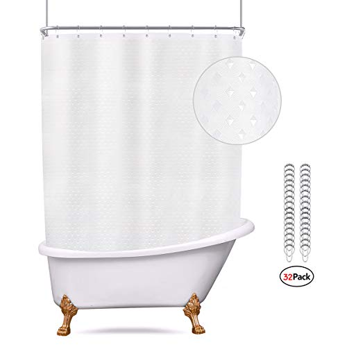 Riyidecor Waffle Clawfoot Tub Shower Curtain Set 180x70 Inch All Wrap Around Shower Curtain Polyester Bathroom Decor Fabric Panel Extra Wide 32 Pack Metal Shower Hooks Without Magnets (Shower Liner For Clawfoot Tub)