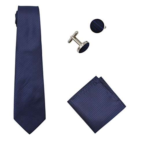 Bioterti Men's 3-Piece Necktie Set:Solid Color Stripes Necktie, Pocket Square & Cufflinks (Navy) (Cufflinks Stripes Necktie)