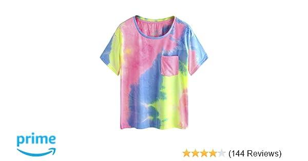Amazon.com  Romwe Short Sleeve Round Neck Tie Dye Pocket T-Shirt Tee   Clothing 81778d8b28e6