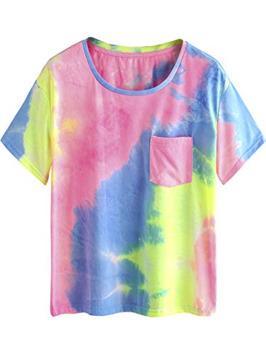 ROMWE Short Sleeve Round Neck Tie Dye Pocket T-Shirt Tee