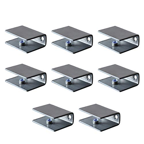 Stainless Steel Brackets Shelf Clips Metal Clamps Brushed Finish Wall Mounted Adjustable 10-12mm for Glass Acrylic Wood (Set of - Glass Finish Stainless