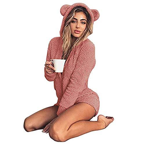 W. DRIZZLE Women Onesie Cute Fleece Pajamas Long Sleeve Zip Up Hoodie and Shorts Sleepwear Jumpsuit Playsuit (Pink, XXL)