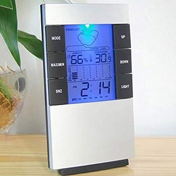 Remaxm higrómetro medidor de Temperatura de Humedad, Reloj meteorológico, LED retroiluminado, estación meteorológica Digital, higrómetro, termómetro, ...
