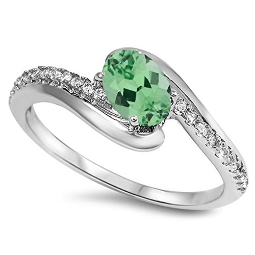 Oval Green Natural Emerald - 925 Sterling Silver Faceted Natural Genuine Green Emerald Oval Ring Size 6