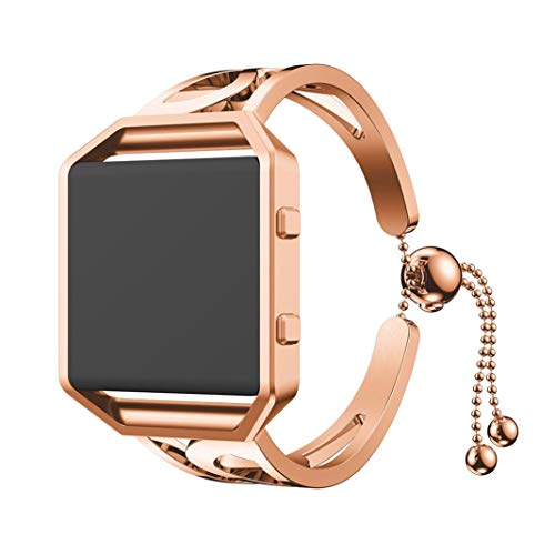 Sinfu for Fitbit Blaze Luxurious Fashion Bracelet Replacement Girls Watch Band Strap (One Size, Rose Gold) (Gucci White Bracelet)