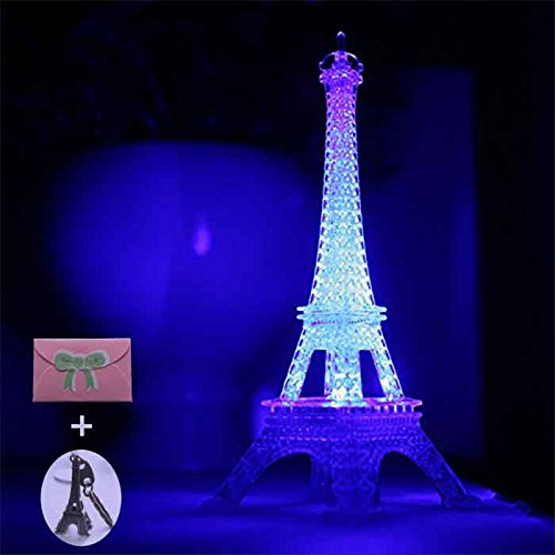 Eiffel Tower Nightlight Desk Bedroom Decoration LED Lamp Colorful Paris Fashion Style Acrylic 10 Inch Cake Topper Decoration (Eiffel Tower Cake Topper)
