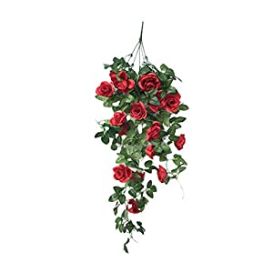 Ecosin Fashion Simulation Fake Flower Rose Vine Wall Hanging Flower Orchid Hanging Basket Flower Living Room Balcony Home Decoration Flower (Red) 20